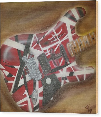 Striped Guitar Wood Print by Phillip Whitehead