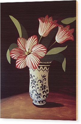 Striped Tulip  Wood Print by Dory Coffee