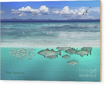 Stripers In The Surf Wood Print by Alex Suescun