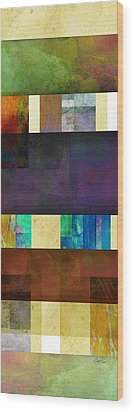 Stripes And Squares - Abstract -art Wood Print by Ann Powell