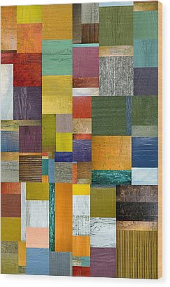 Strips And Pieces V Wood Print by Michelle Calkins
