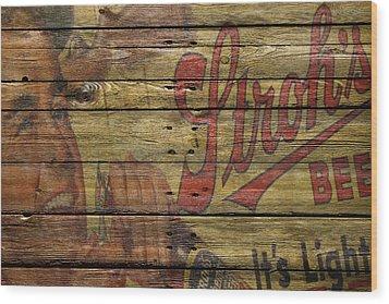Strohs Beer Wood Print by Joe Hamilton