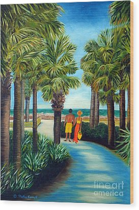 Wood Print featuring the painting Stroll In Paradise Plantation by Shelia Kempf
