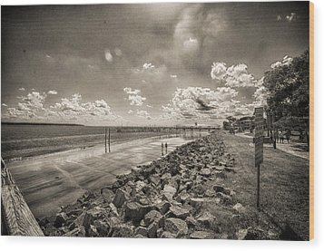 Stroll On The Beach Wood Print by J Riley Johnson