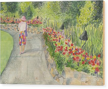Wood Print featuring the painting Strolling Butchart Gardens by Vicki  Housel
