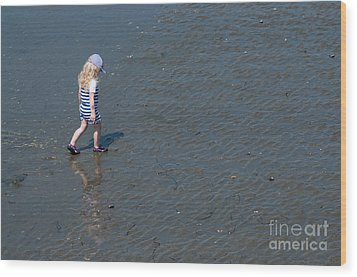 Strolling On The Beach Wood Print by Malu Couttolenc