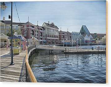 Strolling On The Boardwalk At Disney World Wood Print by Thomas Woolworth