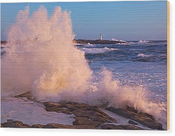 Strong Winds Blow Waves Onto Rocks Wood Print by Thomas Kitchin & Victoria Hurst