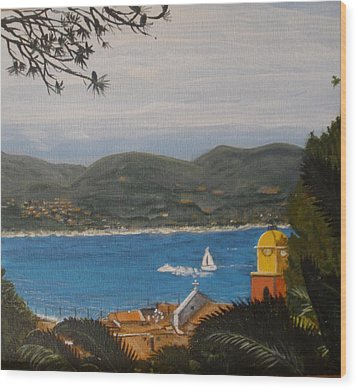 Wood Print featuring the painting St.tropez France by Betty-Anne McDonald