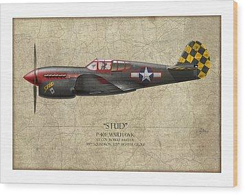 Stud P-40 Warhawk - Map Background Wood Print by Craig Tinder