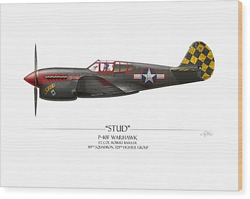 Stud P-40 Warhawk - White Background Wood Print by Craig Tinder