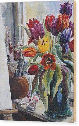 Studio Corner With Tulips Wood Print by Barbara Pommerenke