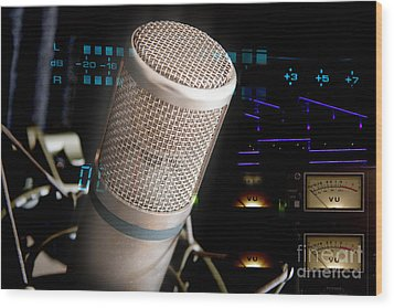 Wood Print featuring the photograph Studio Microphone And Recording Gear by Gunter Nezhoda