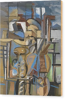 Studio With Cello Wood Print by Clyde Semler