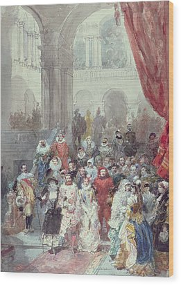 Study For A Costume Ball Given By The Princess Of Sagan Wood Print by Eugene-Louis Lami