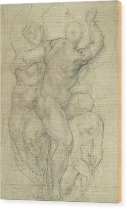 Study For A Group Of Nudes Wood Print by Jacopo Pontormo