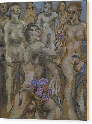 Study For Flowers On The Naked Bike Ride Wood Print by Peregrine Roskilly