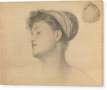 Study For Girl With Doves Wood Print by Anthony Frederick Augustus Sandys