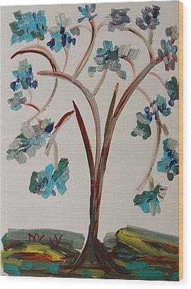 Study Of A Blue Tree Wood Print by Mary Carol Williams