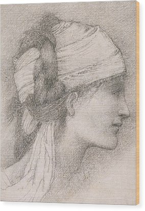 Study Of A Female Head To The Right Wood Print by Sir Edward Coley Burne-Jones