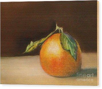 Study Of A Tangerine Wood Print by Lamarr Kramer