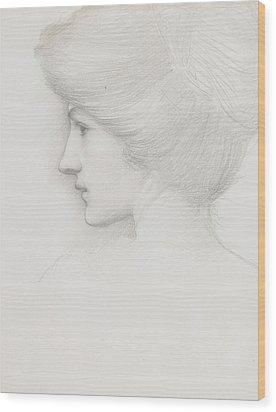 Study Of A Woman's Head Profile To Left Wood Print by Sir Edward Coley Burne-Jones