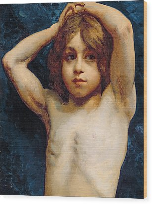 Study Of A Young Boy Wood Print by William John Wainwright