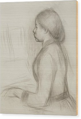 Study Of A Young Girl At The Piano Wood Print by Pierre Auguste Renoir