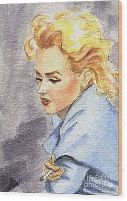 Wood Print featuring the painting study of Marilyn Monroe by Jingfen Hwu