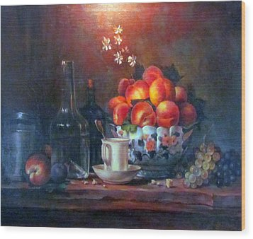 Wood Print featuring the painting Study Of Peaches by Donna Tucker