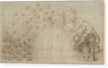 Study Of Two Mortars For Throwing Explosive Bombs From Atlantic Codex Wood Print by Leonardo Da Vinci