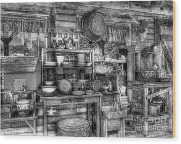 Stuff For Sale Bw Wood Print by Mel Steinhauer
