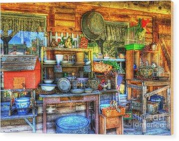 Stuff For Sale Wood Print by Mel Steinhauer