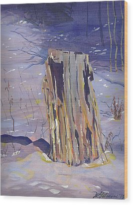 Stump In Winter Wood Print
