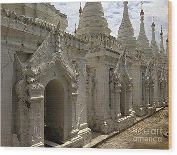 Wood Print featuring the photograph Stupas With Buddhist Inscription Slabs Sandamuni Pagoda Mandalay Burma by Ralph A  Ledergerber-Photography
