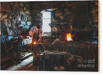 Sturbridge Village Blacksmith Wood Print by Scott Thorp
