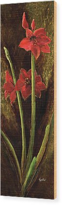 Wood Print featuring the painting Sturdy Blooms by Vic  Mastis