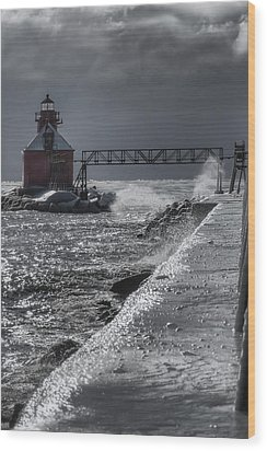 Sturgeon Bay After The Storm Wood Print by Joan Carroll