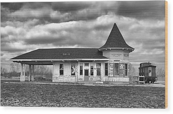 Wood Print featuring the photograph Sturtevant Old Hiawatha Depot by Ricky L Jones
