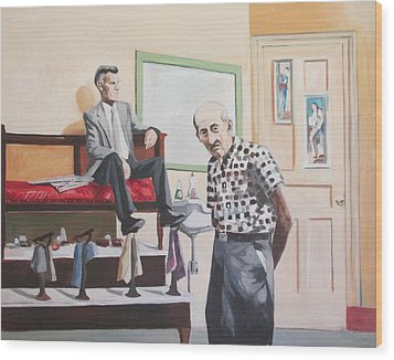 Wood Print featuring the painting Stuyvesant Barber Shop by Linda Novick