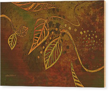Stylized Leaves Abstract Art  Wood Print by Ann Powell