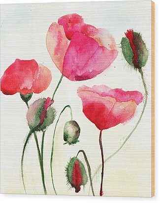 Stylized Poppy Flowers Illustration  Wood Print
