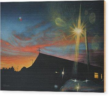 Suburban Sunset Oil On Canvas Wood Print