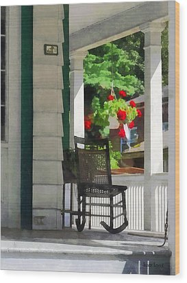 Suburbs - Porch With Rocking Chair And Geraniums Wood Print by Susan Savad