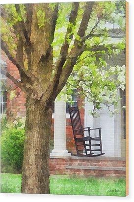 Suburbs - Rocking Chair On Porch Wood Print by Susan Savad