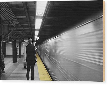 Subway Wood Print by Enrique  Coloma