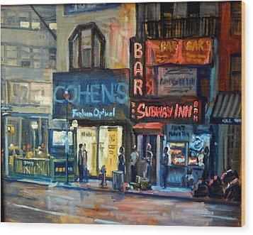 Subway Inn New York City Nyc Wood Print by Thor Wickstrom