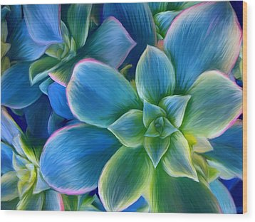 Wood Print featuring the digital art Succulent Blue On Green by Sharon Beth
