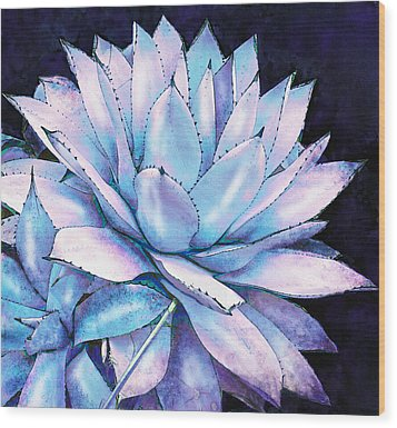 Succulent In Blue And Purple Wood Print by Jane Schnetlage