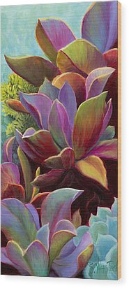 Succulent Jewels Wood Print by Sandi Whetzel